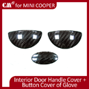 for Mini Cooper Carbon Fiber Interior Door Handle Cover + Button Cover of Glove Compartment