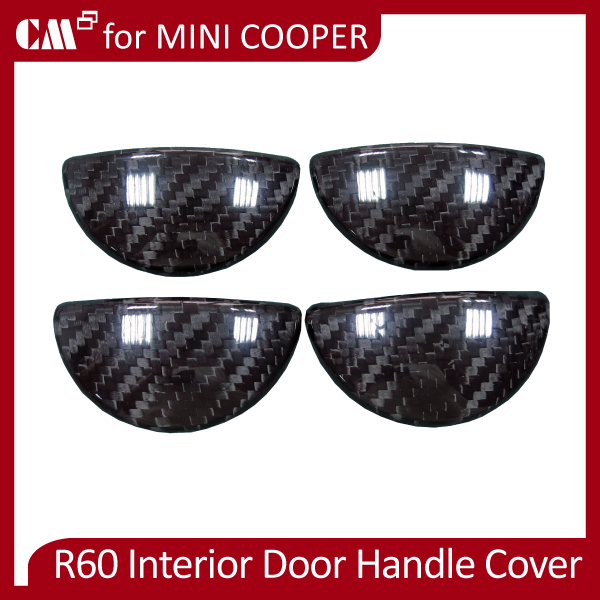 Mini Cooper R60 Real Dry Black Carbon Fiber Interior Door Handle Cover