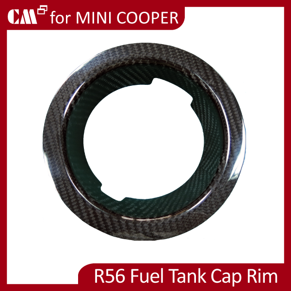 for Mini Cooper R56 (07~ON) Real Dry Black Carbon Fiber Gas Cover Rim